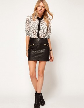 Image 1 ofASOS Quilted Skirt in Leather