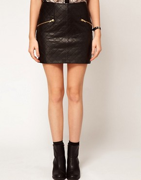Image 4 ofASOS Quilted Skirt in Leather