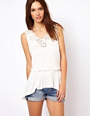 Warehouse Cutwork Yoke Peplum Top