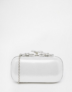ALDO Metallic Box Clutch with Crystal Flower Closure