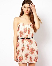 Jarlo Floral Sweetheart Dress With Belt