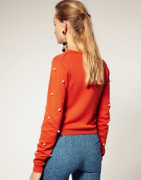 Image 2 ofHouse of Holland Sweater With Pearl Sleeves