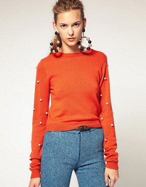 Image 1 ofHouse of Holland Sweater With Pearl Sleeves