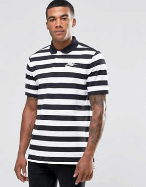 Nike Striped Polo In Black 832881-010