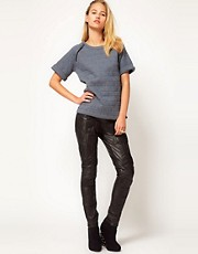 ASOS REVIVE Leather Pants with Raised Panel Detail