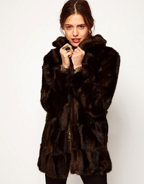Image 1 ofASOS Premium Chevron Fur Coat
