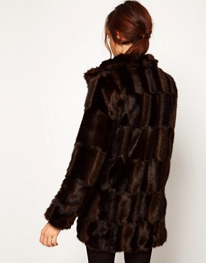 Image 2 ofASOS Premium Chevron Fur Coat