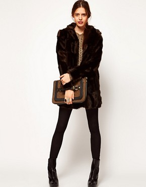 Image 4 ofASOS Premium Chevron Fur Coat