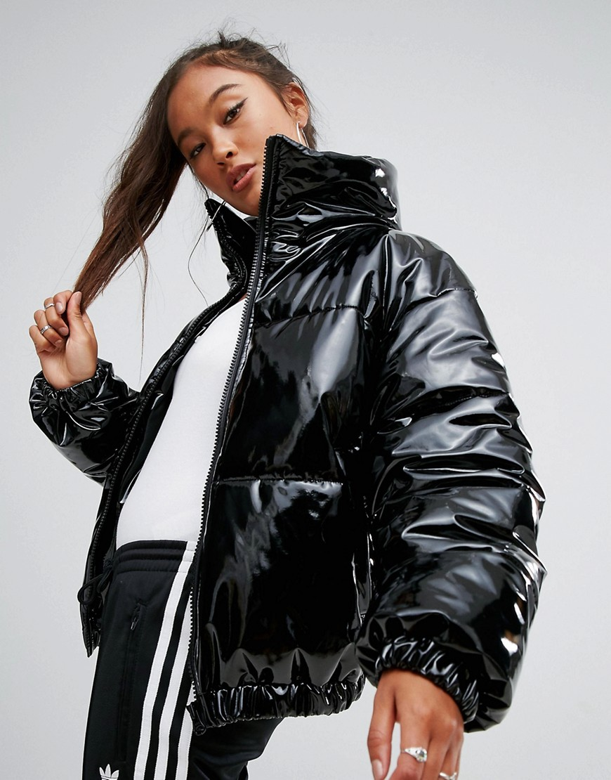 ASOS High Shine Patent Puffer Jacket - Black