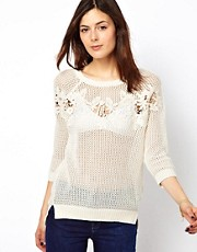 Warehouse Lace Panel Sweater