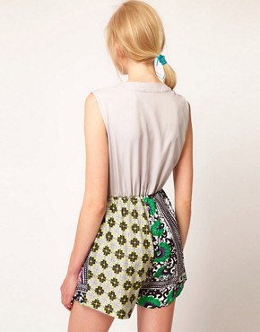 Image 2 ofASOS AFRICA Playsuit In Geo Print