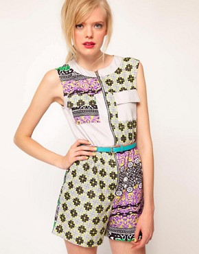 Image 1 ofASOS AFRICA Playsuit In Geo Print