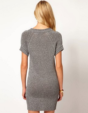 Image 2 ofKaren Millen Chunky Metallic Knitted Tunic Dress