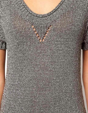 Image 3 ofKaren Millen Chunky Metallic Knitted Tunic Dress
