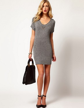 Image 4 ofKaren Millen Chunky Metallic Knitted Tunic Dress