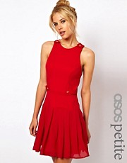 ASOS PETITE Exclusive Mini Dress With Drop Waist And Button Detail