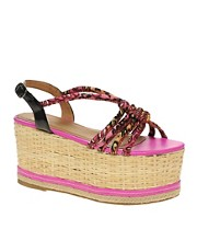 ASOS HIGH FLYER Basket Weave Flatforms with Tubular Straps