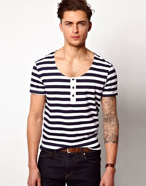 Image 1 ofASOS Stripe Grandad With Scoop Neck