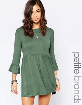 Boohoo Petite Smock Dress With Frill Sleeve