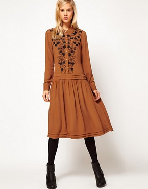 Image 4 ofASOS Shirt Dress With Floral Embroidery