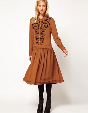 Image 1 ofASOS Shirt Dress With Floral Embroidery