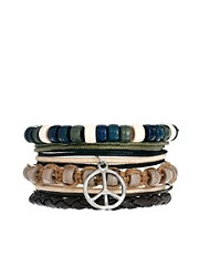 ASOS Leather Bracelet With Peace Sign