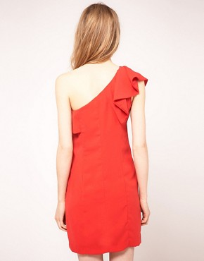 Image 2 ofWarehouse One Shoulder Dress With Ruffle