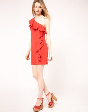 Image 4 ofWarehouse One Shoulder Dress With Ruffle