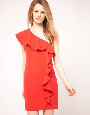 Image 1 ofWarehouse One Shoulder Dress With Ruffle
