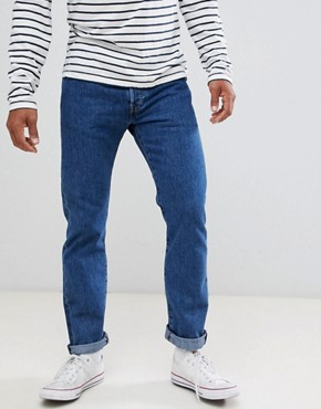 Image 1 ofLevis Jeans 501 Straight Fit Stonewash