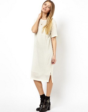 ASOS T-Shirt Dress With Embroidery - Cream