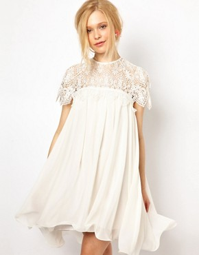 Image 1 ofLydia Bright Swing Dress with Lace Top