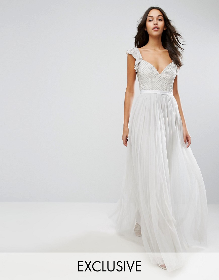 Needle & Thread Swan Tulle Maxi Dress With Frill Sleeve - Spearmint
