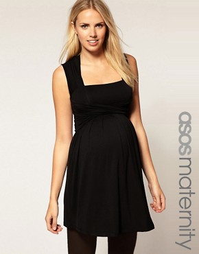 Image 1 ofASOS Maternity Exclusive Dress in Jersey with Wrap Bust