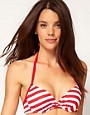 Image 1 ofASOS Stripe Twist Front Grad Pad Fuller Bust Bikini Top D-F