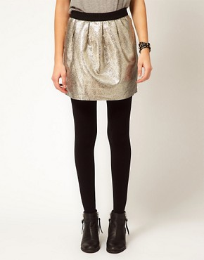 Image 4 ofSelected Metallic Mini Skirt