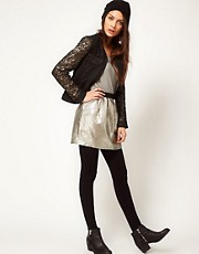 Selected Metallic Mini Skirt