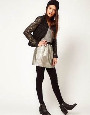 Image 1 ofSelected Metallic Mini Skirt