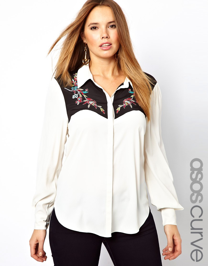 Image 1 of ASOS CURVE Exclusive Shirt With Western Styling