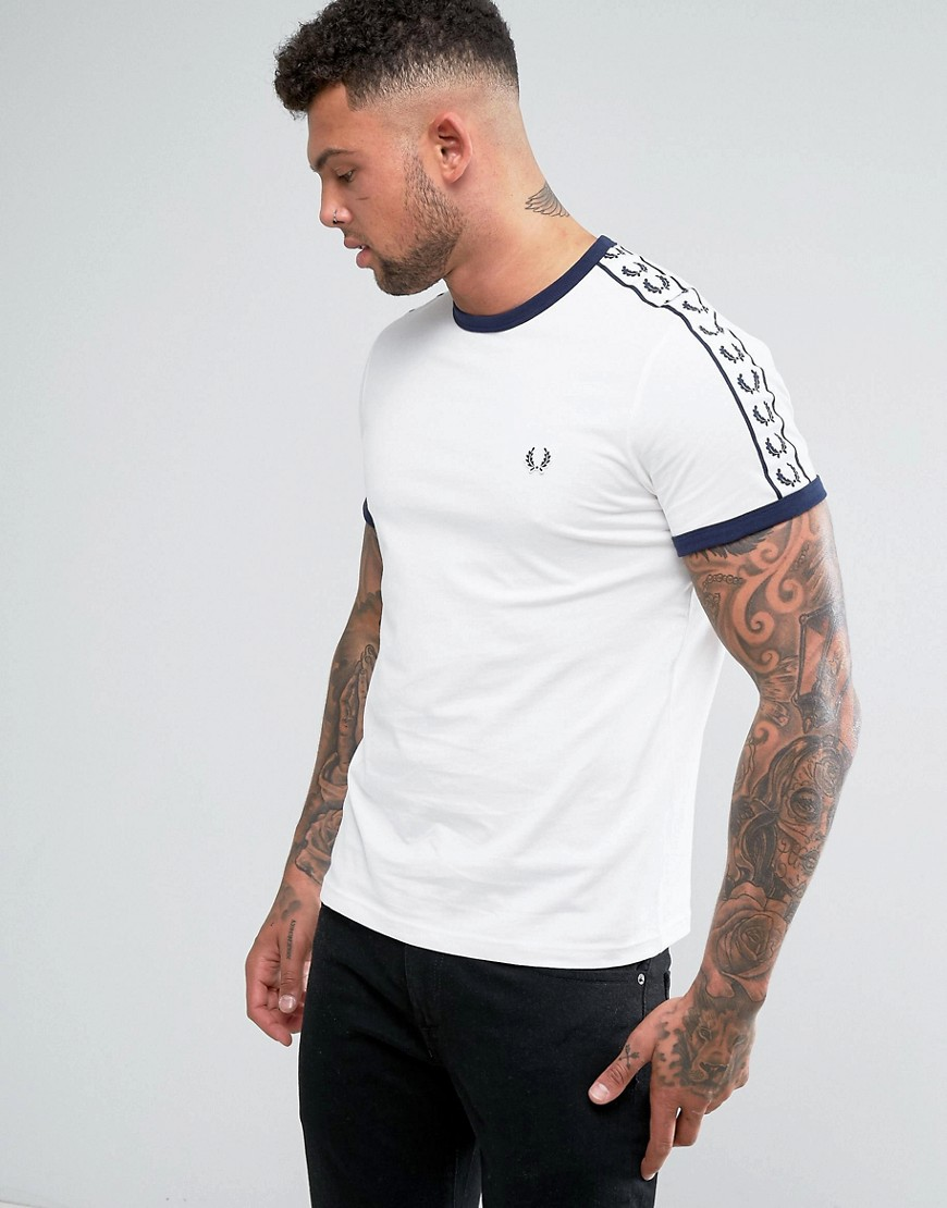 Fred Perry Slim Fit Sports Authentic Taped Sleeve T-Shirt In White - Snow white