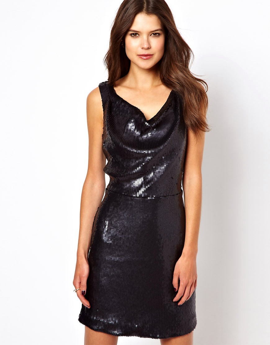 Image 1 of Oasis Sequin Cowl Dress
