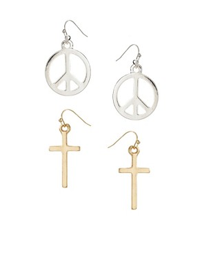 Image 1 ofASOS Mini Cross/Peace Drop Earrings