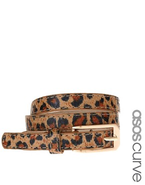 Image 1 ofASOS CURVE Leopard Print Skinny Waist Belt