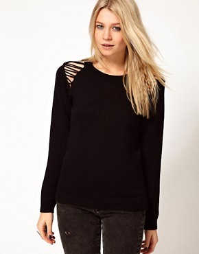 Image 1 ofASOS Jumper With Ladder Shoulder Detail