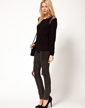 Image 4 ofASOS Jumper With Ladder Shoulder Detail