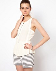 Iro Sleeveless Zip Top with Peplum Detail