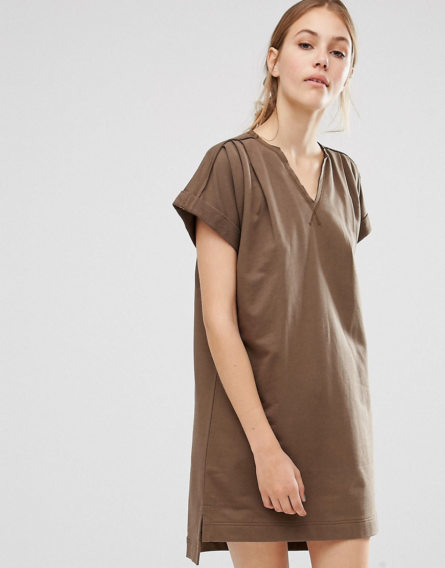 people-tree-organic-cotton-roll-sleeve-tunic-dress-green