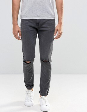 ASOS Skinny Jeans With Rips In Washed Black