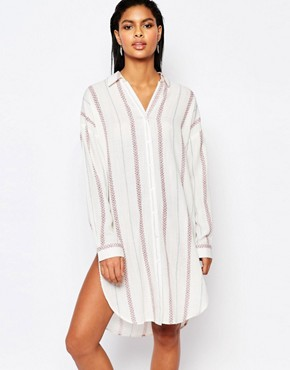 Moon River Striped Shirt Dress