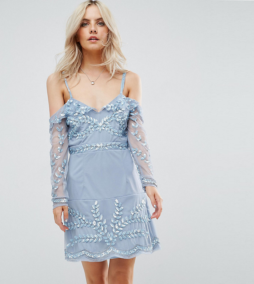 Maya Petite Cold Shoulder Embellished Mini Dress